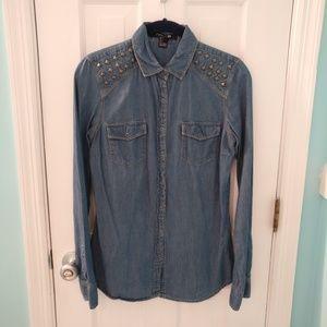 Forever 21 Jean Studded Long Sleeve Shirt